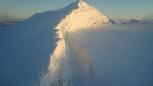 The view from Robert Gallagher's office as a Heli-ski helicopter pilot.
