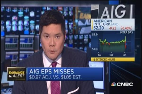 AIG reports EPS miss