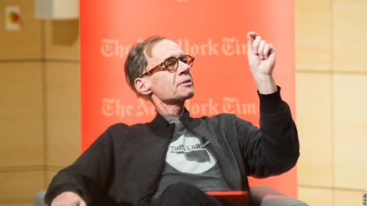 New York Times columnist David Carr, seen here attending the TimesTalks at The New School Thursday, died at the newspaper office.