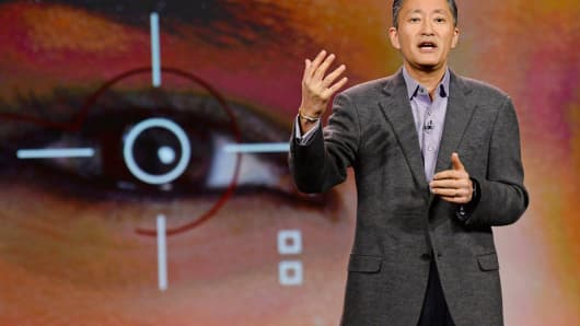 Sony Corp. President and CEO Kazuo Hirai delivers a keynote address at the 2014 International CES in Las Vegas, Jan. 7, 2014.