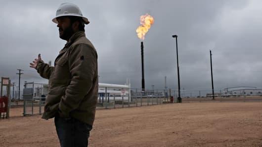 Worker in Permian Basin oil field
