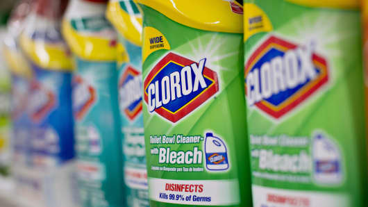 Colorox brand toilet bowl cleaner sits on display at a supermarket in Princeton, Ill.