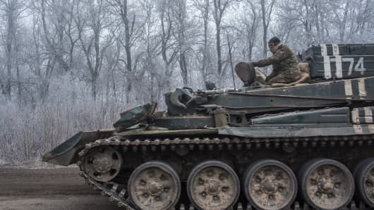 A Ukrainian personnel carrier travelling towards Debaltseve, Ukraine on February 15, 2015
