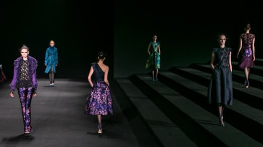 Models walk the runway during the Monique Lhuillier fashion show in New York.