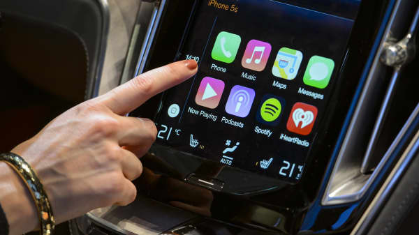 The new Apple CarPlay touch-screen in the Volvo Estate concept car.