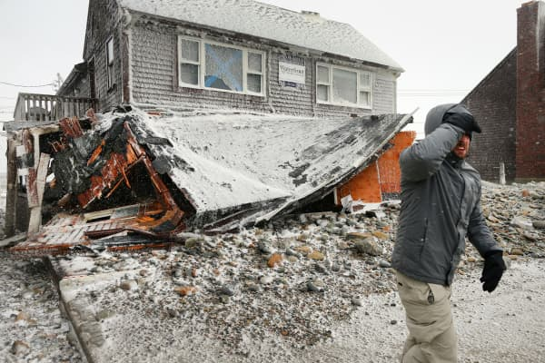 A damaged home in Marshfield, Massachusetts, January 27, 2015.