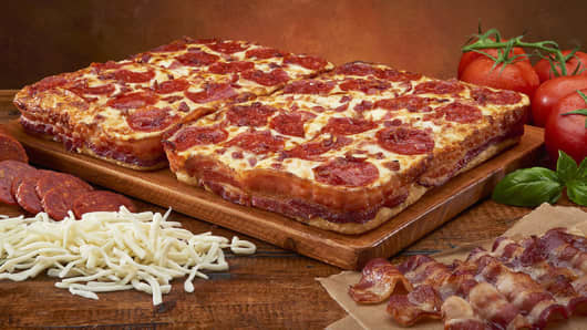 Bacon Wrapped Little Caesar's Pizza