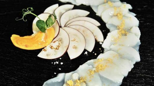 "Gruell's ""white gold"" caviar"