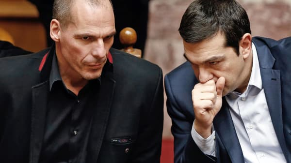 Greek Prime Minister Alexis Tsipras, right, and Finance Minister Yanis Varoufakis are shown at the Greek parliament in Athens.