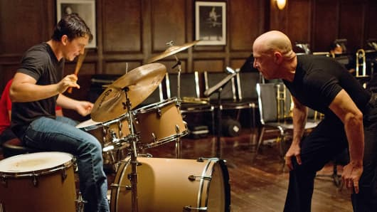 "Miles Teller, left, and J.K. Simmons in a scene from the film ""Whiplash."""