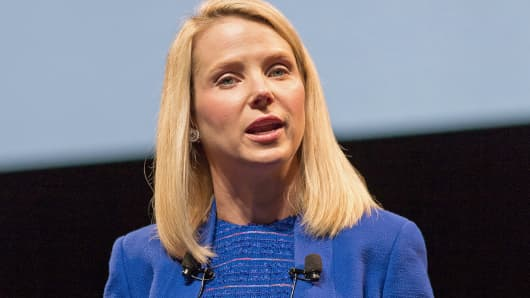 Yahoo CEO Marissa Mayer speaks during her keynote at the 2014 Cannes Lions, June 17, 2014, in Cannes, France.