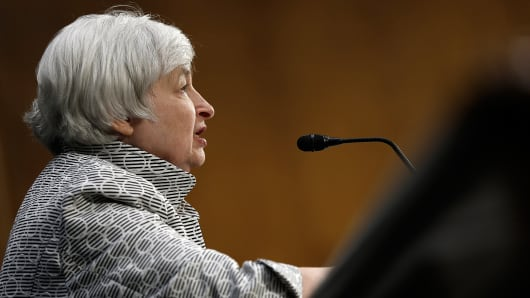 Federal Reserve Board Chairwoman Janet Yellen testifies before the Senate Banking, Housing and Urban Affairs Committee July 15, 2014 in Washington, DC.