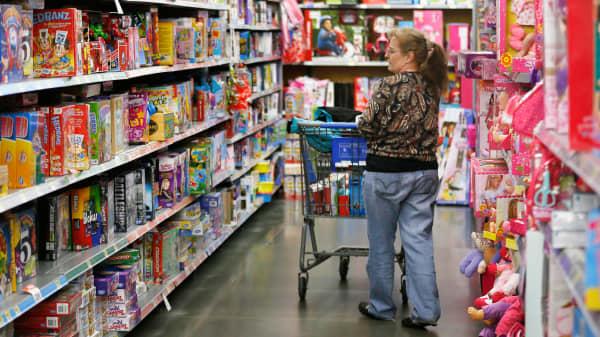A shopper in a Walmart store in Broomfield, Colorado.