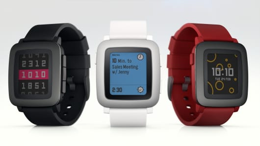 Pebble smart watch.