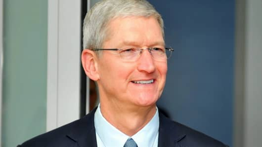 Tim Cook, Apple CEO, during his trip to Belgium, February 23, 2015.