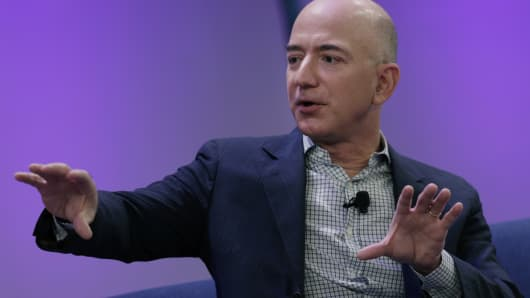 Jeff Bezos, chief executive officer of Amazon.com Inc. and founder of Blue Origin LLC