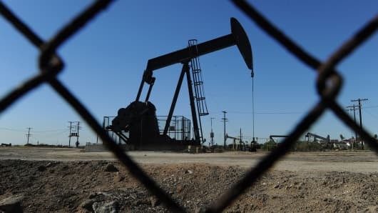Oil pumps in operation at an oilfield near central Los Angeles.