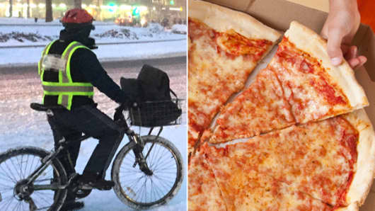 Pizza and delivery man