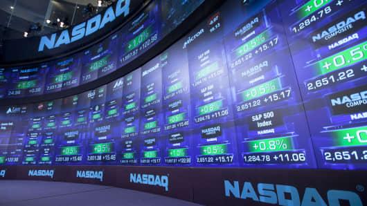 Nasdaq market board at the Nasdaq MarketSite in New York.