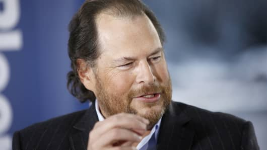 Salesforce.com chairman and CEO Marc Benioff speaks during an interview in Davos, Switzerland, Jan. 22, 2015.