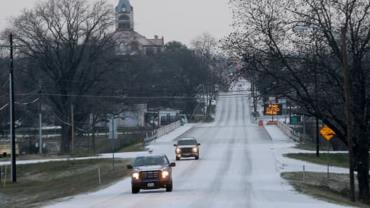 Ice and sleet covers the road in Stephenville, Texas.