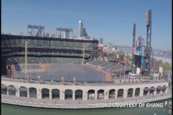 Drone soars above San Francisco Bay