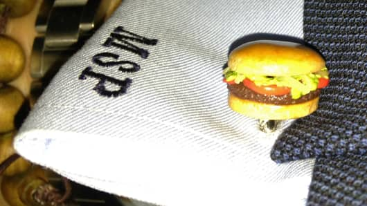 Mike Puma's hamburger cufflinks.