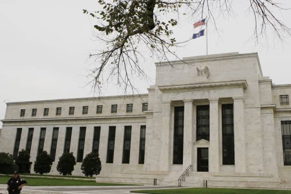 The Federal Reserve building is shown in Washington.