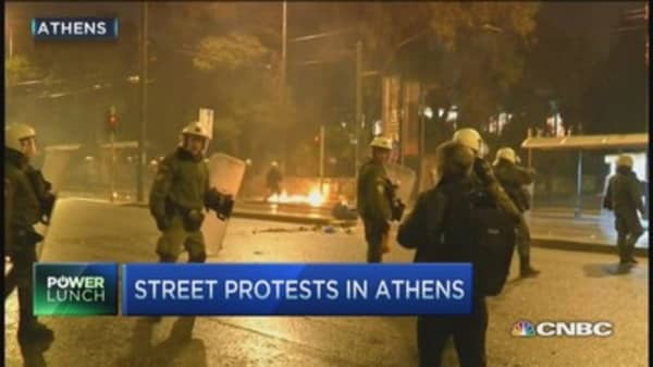 Protesters clash in streets of Athens
