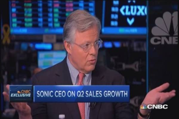 America's drive-in Sonic sees 1st double digit gain