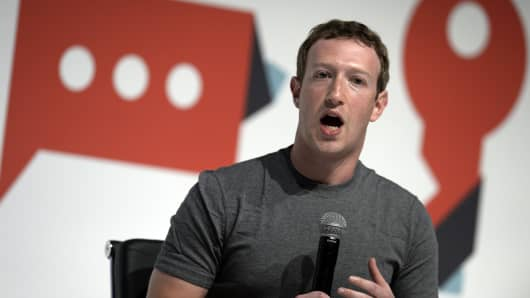 Facebook's creator Mark Zuckerberg speaks on the opening day of the 2015 Mobile World Congress (MWC) in Barcelona on March 2, 2015.