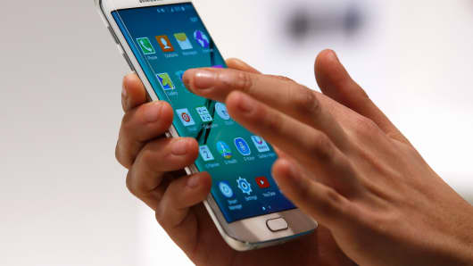 The Samsung Galaxy S6 Edge smartphone at the Mobile World Congress in Barcelona, March 2, 2015.