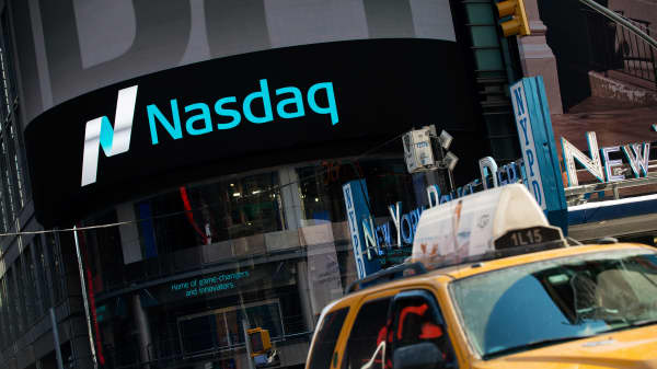 The Nasdaq in Times Square, New York.