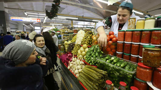The Dorogomilovsky food market in Moscow, Russia