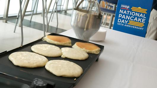 IHOP celebrates the 10th anniversay of National Pancake Day at CNBC Headquarters in Englewood Cliffs, New Jersey.