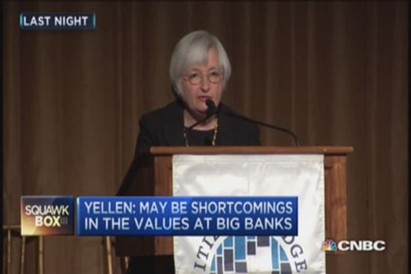Yellen lashes out at banks, Wall Street values