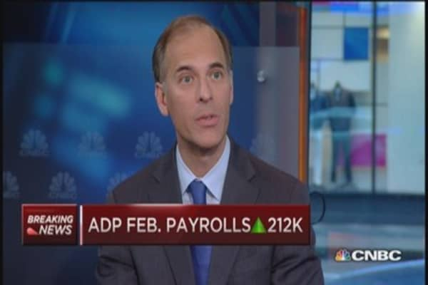ADP February payrolls up 212K
