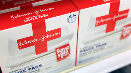 Johnson & Johnson hospital-grade gauze pads are displayed at a Target store in Rosemont, Ill.