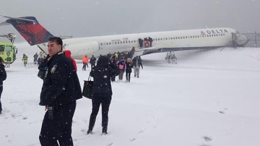 Delta Airlines plane at LaGuardia airport