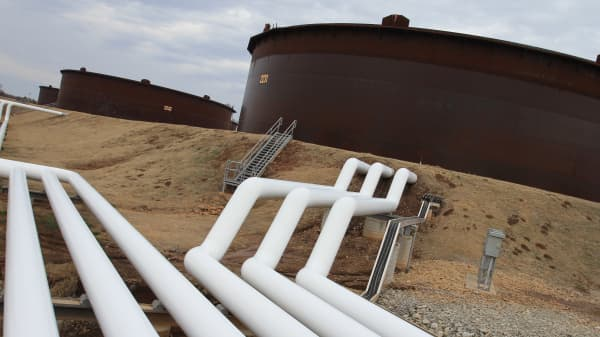 Pipeline and crude storage tanks in Cushing Oklahoma.