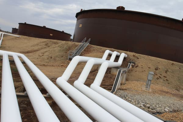 Pipeline and crude storage tanks in Cushing Oklahoma.