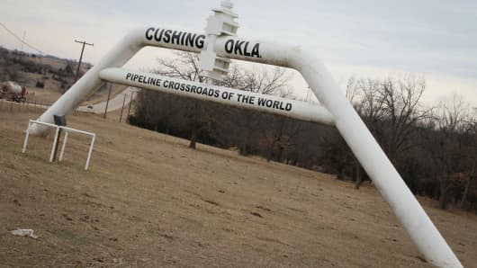 An oil pipeline runs through Cushing, Okla.