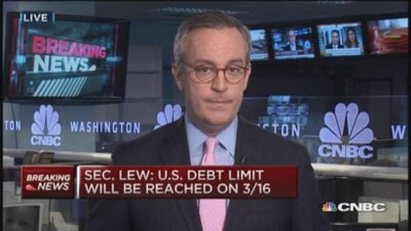 US hits debt limit March 16th: Sec. Lew