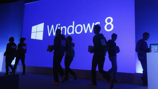 A press conference unveiled the Microsoft Windows 8 operating system in New York, Oct. 25, 2012.