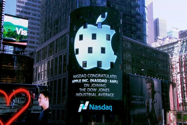 Nasdaq congratulates Apple for joining the Dow Jones industrial average.