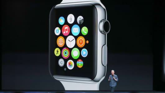 Apple CEO Tim Cook talks about the Apple Watch in Cupertino, California.