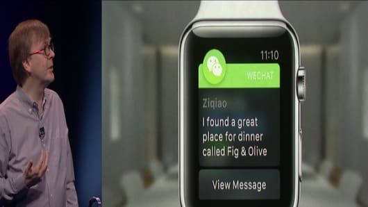 The WeChat app on Apple's iWatch