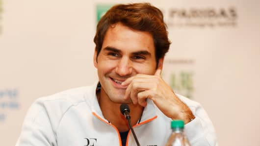Roger Federer during a press conference on March 9, 2015 in New York.