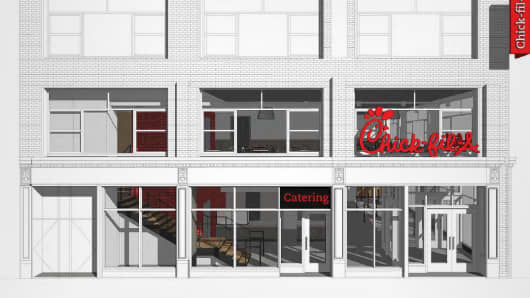 Rendering of a new Chick-fil-A restaurant in New York City.