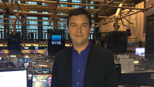 Thomas Piketty at the New York Stock Exchange.